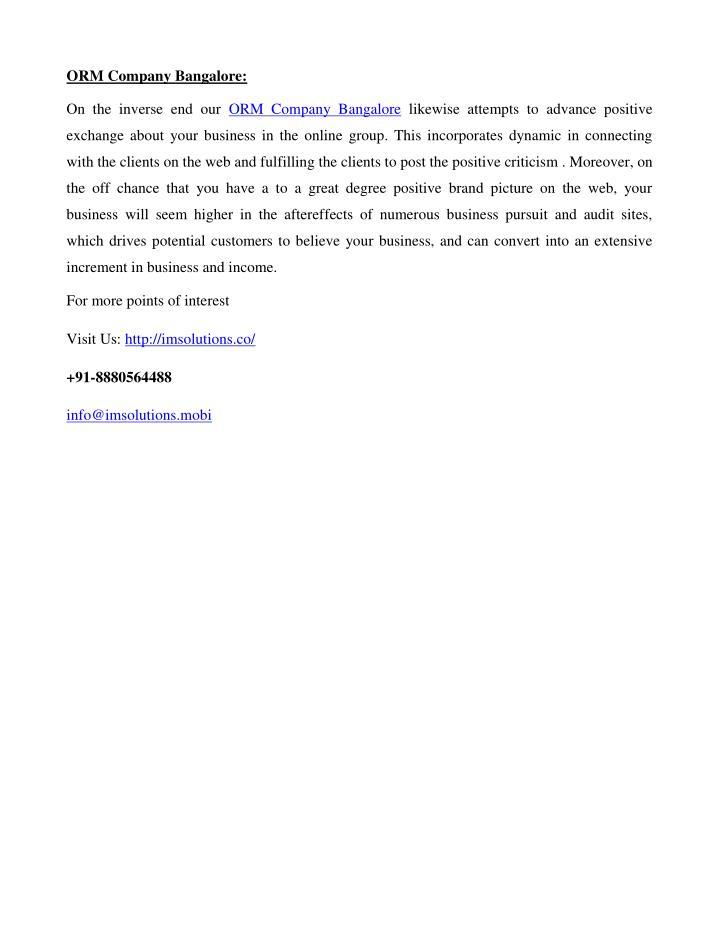 ORM Company Bangalore: