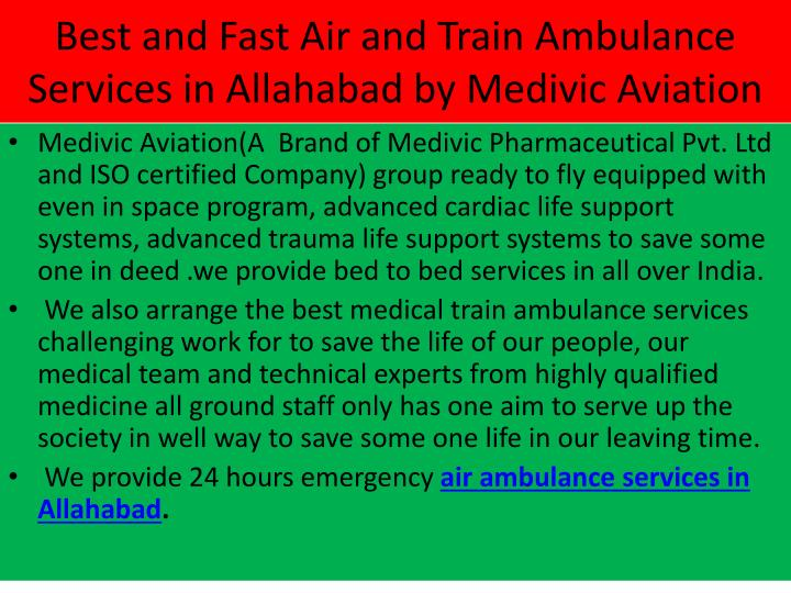 Best and Fast Air and Train Ambulance