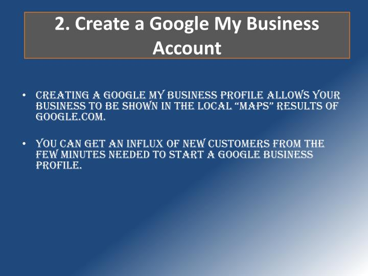 2. Create a Google My Business Account