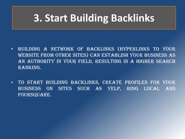 3. Start Building Backlinks