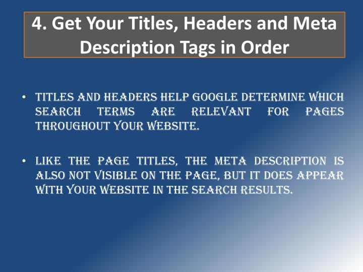 4. Get Your Titles, Headers and Meta Description Tags in Order
