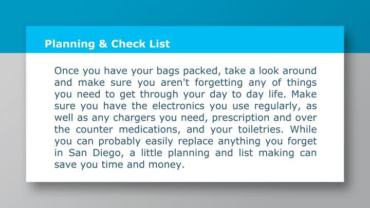 Planning & Check List