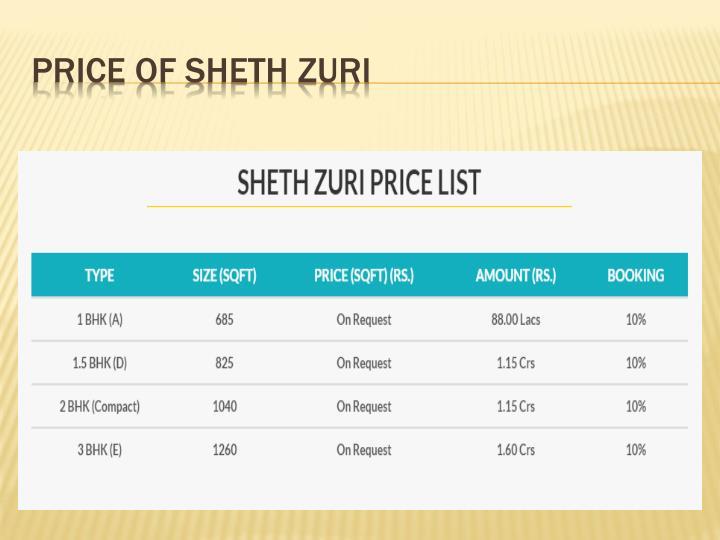 PRICE OF SHETH ZURI