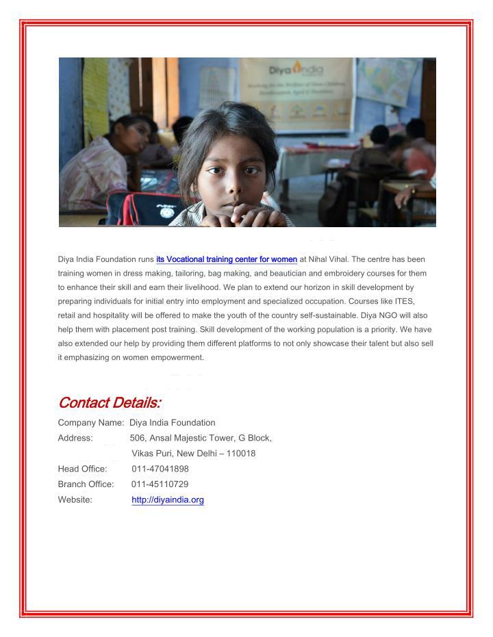 Diya India Foundation runs its