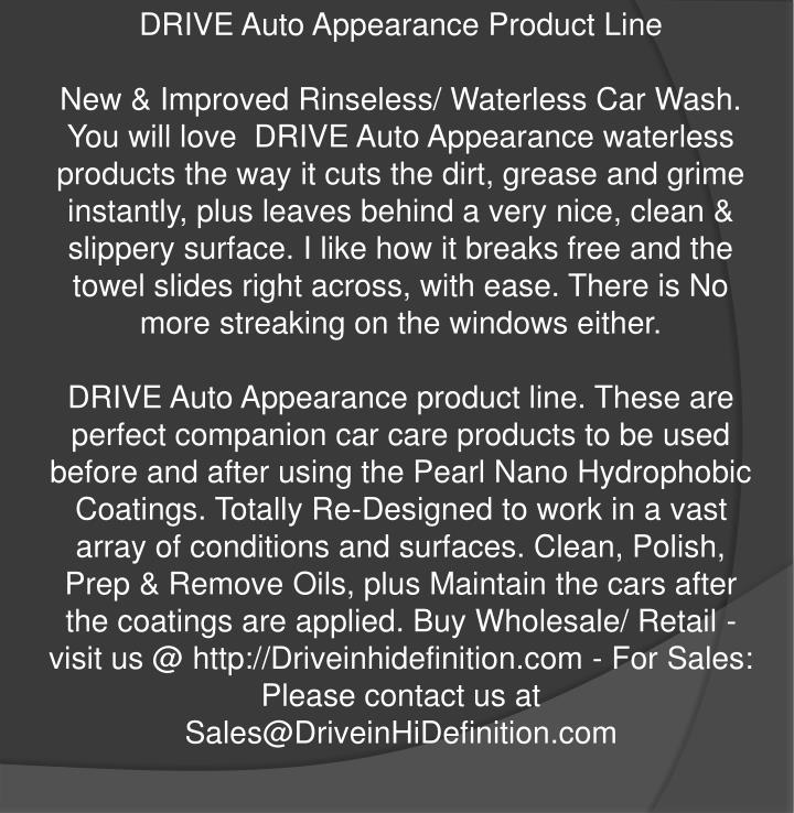 DRIVE Auto Appearance Product Line