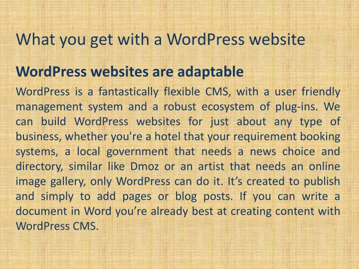 What you get with a wordpress website