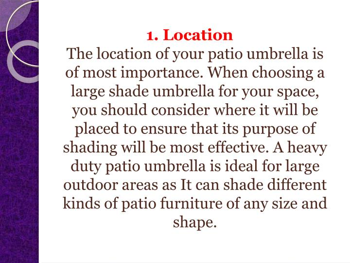 1. Location