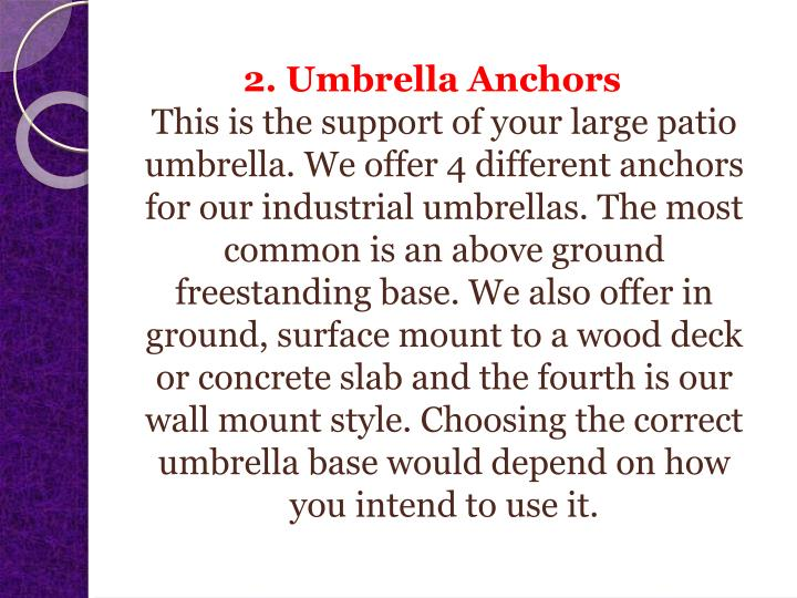 2. Umbrella Anchors
