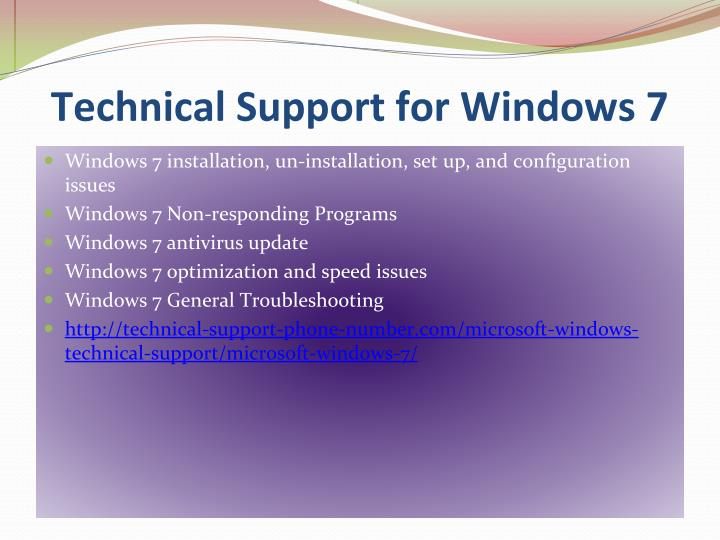 Technical Support for Windows 7