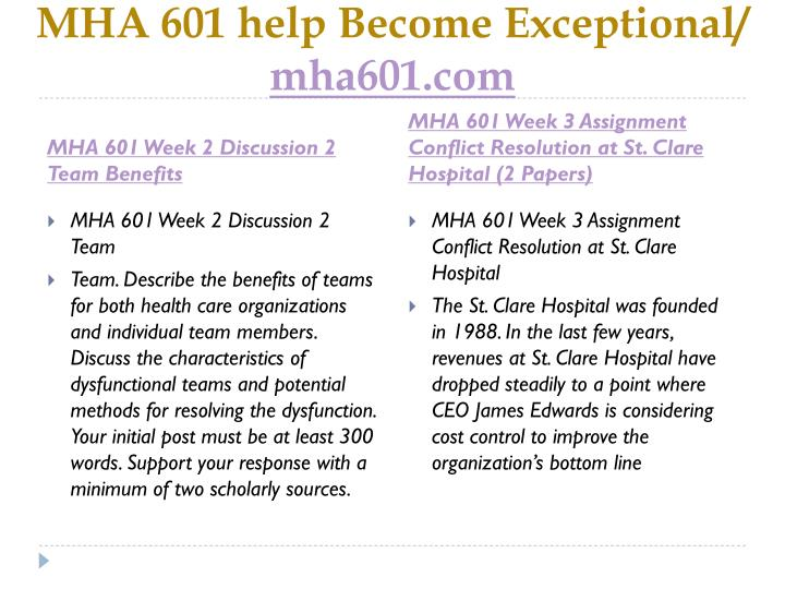 MHA 601 help Become Exceptional