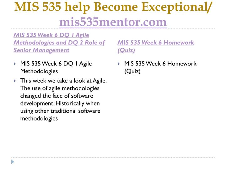 MIS 535 help Become Exceptional/
