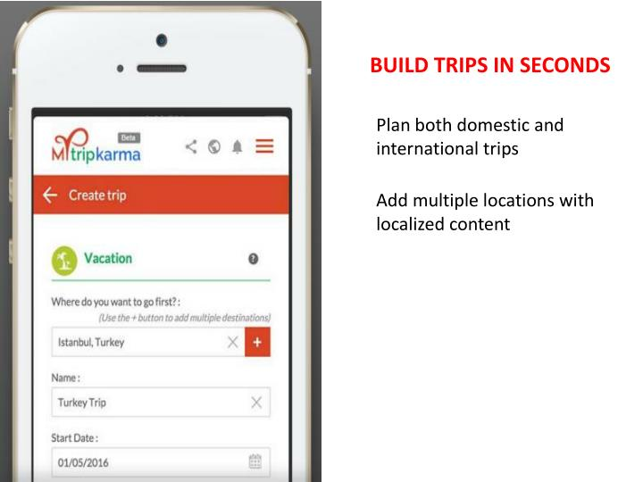 BUILD TRIPS IN SECONDS