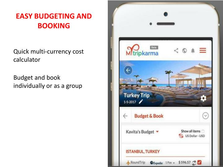 EASY BUDGETING AND BOOKING