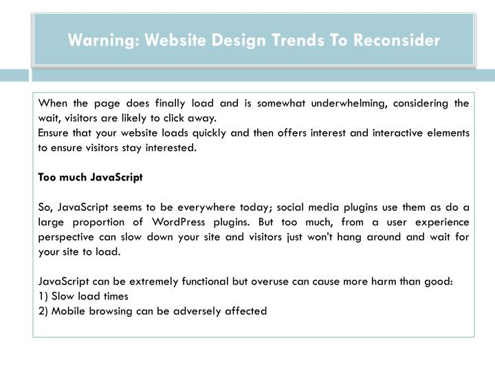 Warning: Website Design Trends To Reconsider