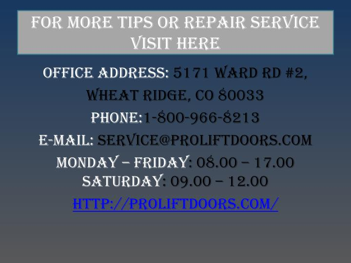For More Tips Or Repair Service Visit Here