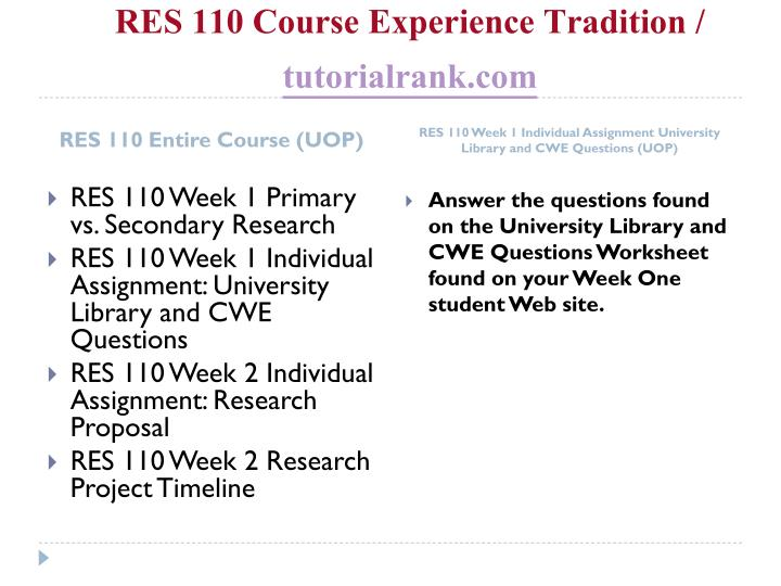 Res 110 course experience tradition tutorialrank com1