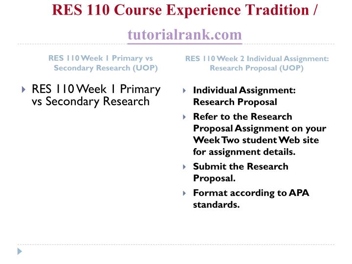 Res 110 course experience tradition tutorialrank com2