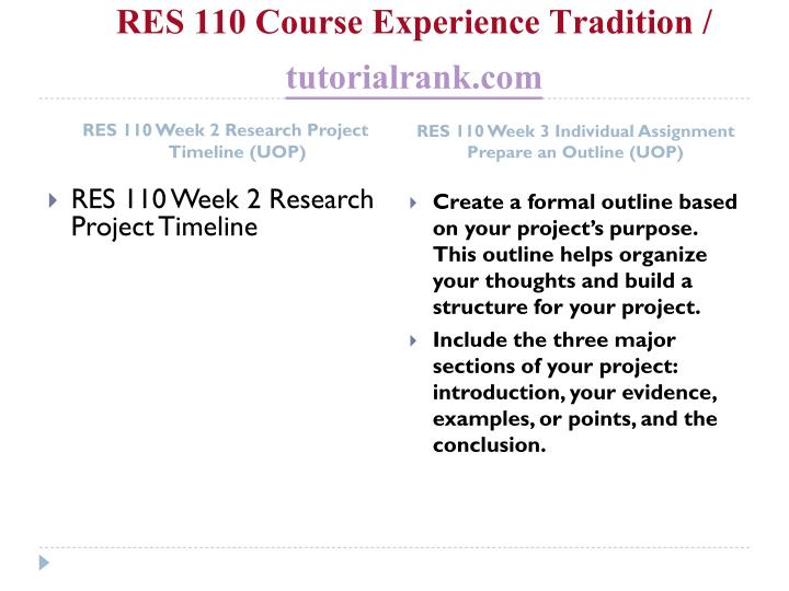 RES 110 Course Experience Tradition /