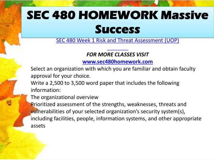 SEC 480 HOMEWORK Massive Success