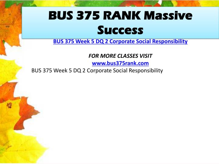 BUS 375 RANK Massive Success