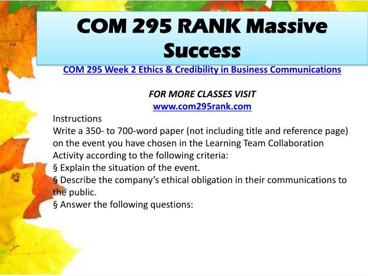 COM 295 RANK Massive Success