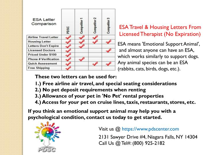 ESA Travel & Housing Letters From