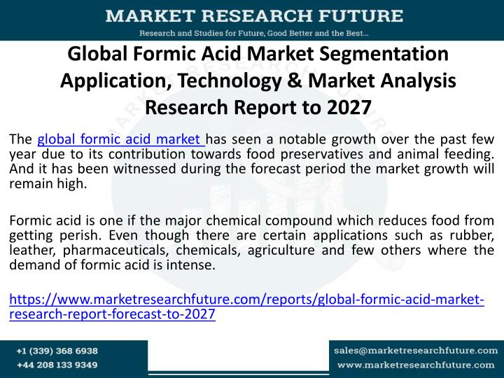 Global Formic Acid Market Segmentation