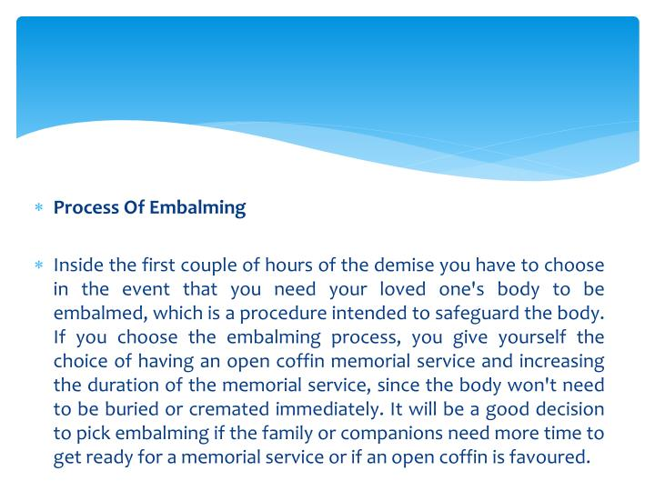 Process Of Embalming