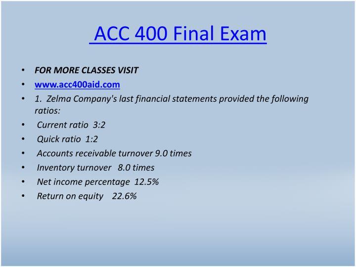 ACC 400 Final Exam