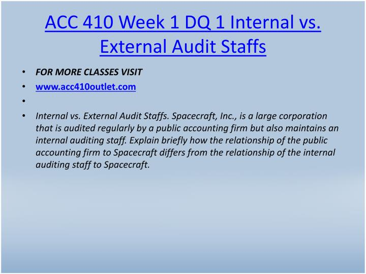 ACC 410 Week 1 DQ 1 Internal vs. External Audit Staffs