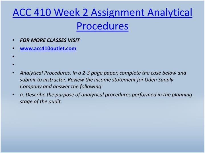 ACC 410 Week 2 Assignment Analytical Procedures