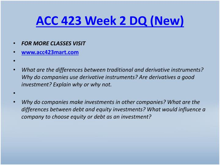 ACC 423 Week 2 DQ (New)