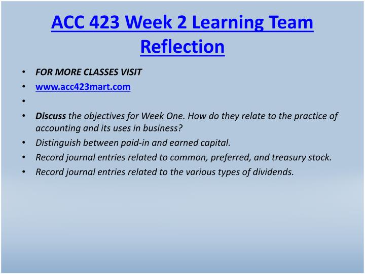 ACC 423 Week 2 Learning Team Reflection