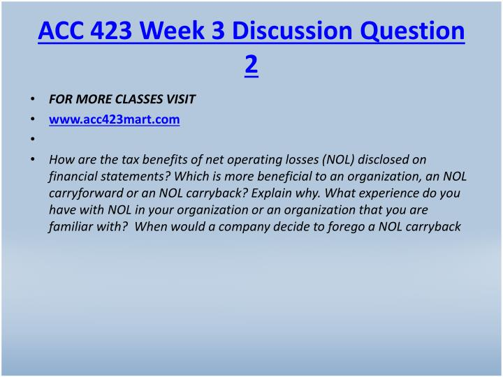 ACC 423 Week 3 Discussion Question 2