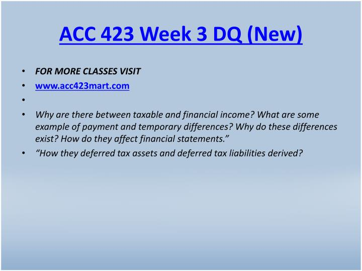ACC 423 Week 3 DQ (New)