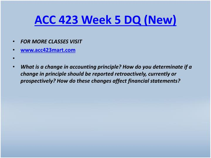 ACC 423 Week 5 DQ (New)