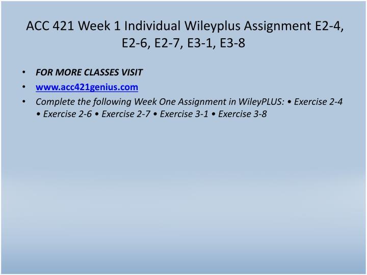 ACC 421 Week 1 Individual