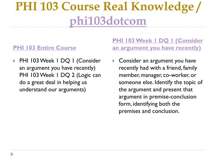 Phi 103 course real knowledge phi103dotcom1