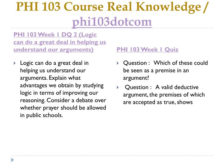 PHI 103 Course Real Knowledge /