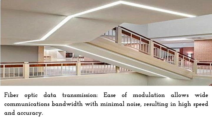 Fiber optic data transmission: Ease of modulation allows wide communications bandwidth with minimal noise, resulting in high speed and accuracy.