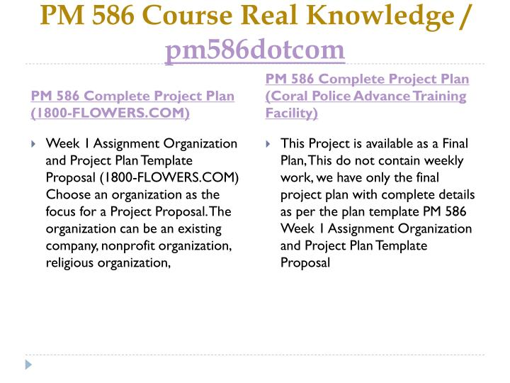 PM 586 Course Real Knowledge /