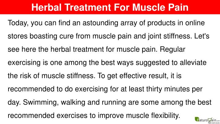 Herbal Treatment For Muscle Pain