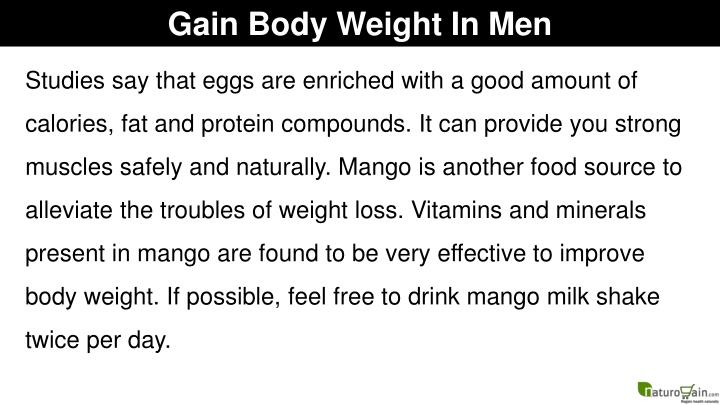 Gain Body Weight In Men