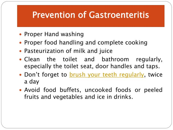 Prevention of Gastroenteritis