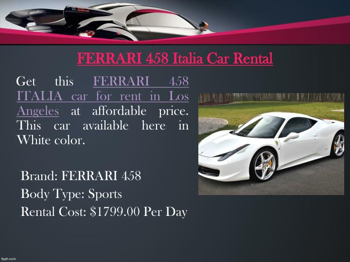 FERRARI 458 Italia Car Rental