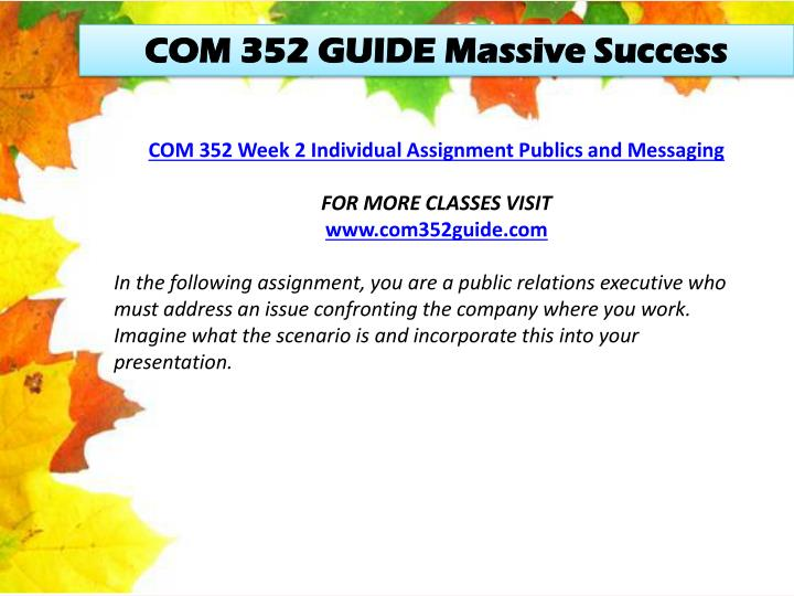 COM 352 GUIDE Massive Success