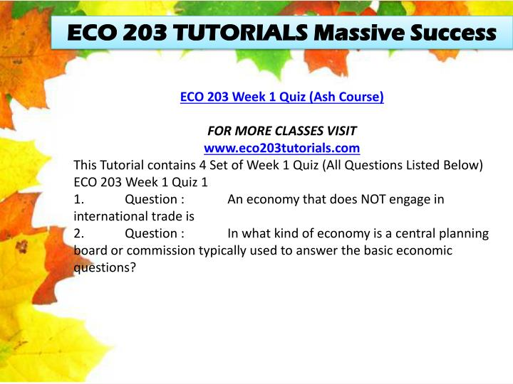 ECO 203 TUTORIALS Massive Success