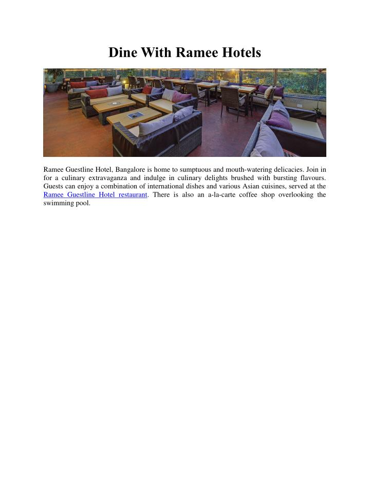 Dine With Ramee Hotels