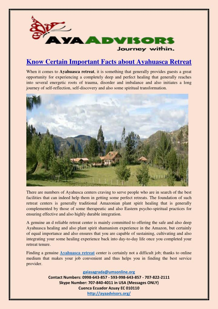 Know Certain Important Facts about Ayahuasca Retreat