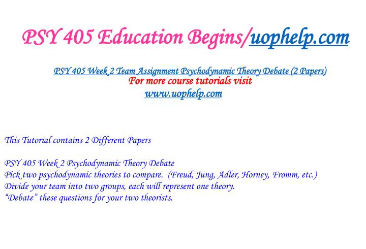 PSY 405 Education Begins/